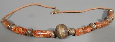 Islamic Bead & Silver Incised Roundels Necklace ca. 12th-14th century AD