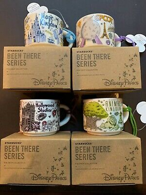 """NIB Disney Parks Starbucks WDW """"Been There"""" Series Ornament Complete Set of 4"""