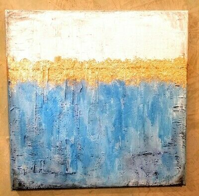 Gold Leaf Abstract painting on Canvas With Texture 20x20 Turquoise & White