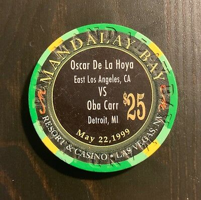 1999 De La Hoya Vs Carr Fight $25 Collectible Mandalay Bay Casino Boxing Chip
