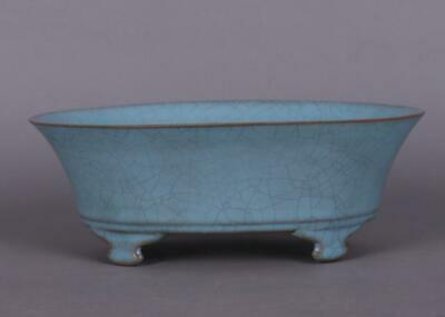 chinese old handmade Your kiln blue glaze porcelain Narcissus basin 08223