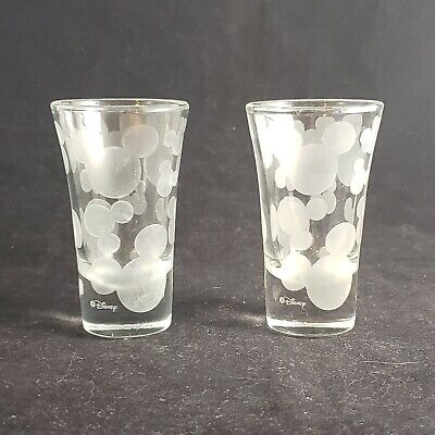 2 Disney Park Mickey Mouse Head Mickey Ears Frosted Etched Shot Glass Shooter