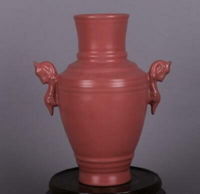 chinese old handmade Your kiln Red glaze porcelain Two ears bottle 08215
