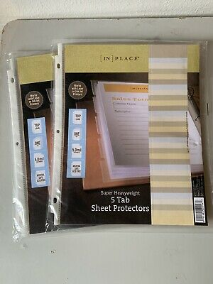 IN PLACE Super Heavy Duty 5 Tab Sheet Protectors 2 Sets Top Load 5.0 Mil Thick