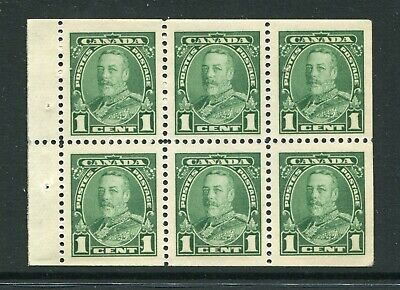 CANADA Scott 217b - NH - 1¢ Green George V Pictorial Booklet Pane of 6 (.038)