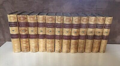 1874 The Works of William Makepeace Thackeray in 12 volumes complete 1/2 calf VG