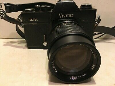 Vivitar 220/SL 35MM Film Camera W/ f=135mm 1:2.3 Auto Kamero Lens Japan
