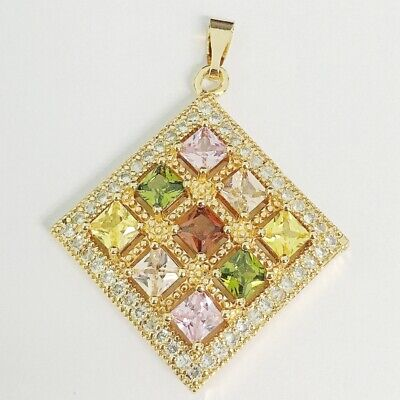Luxurious Colorful Cubic Zircon Gold Plated Lady Square Pendant Jewelry