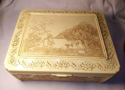 Japanese Celluloid Jewelry Box Asian Oriental Chinese Plastic Vintage