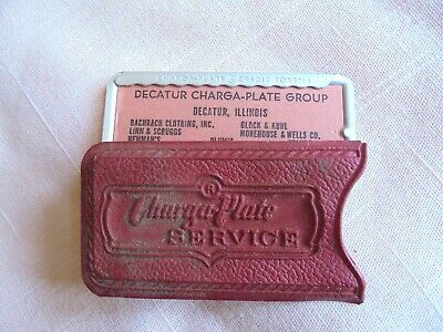 Vintage Decatur IL Stores Charga-Plate Group Charge Account Credit Card & Sleeve