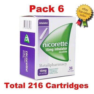6 Packs of Nicorette 15mg Inhalator 36 Cartridges Expiry - May 2022