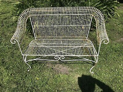 Vintage Rustic Patina Strong Garden Metal Patio French Provincial Bench Seat- Gc