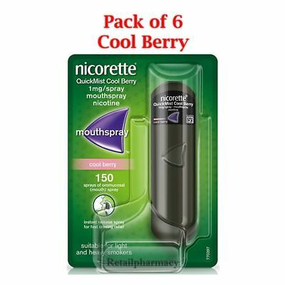 Nicorette Quickmist CoolBerry / Freshmint 1mg MouthSpray 1 x150 Pack of 6