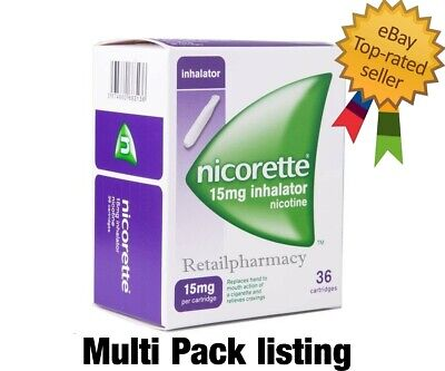 Nicorette Inhalator 15mg  of 36 cartridges PACKS 1 2 3 9 6 12 18 Exp 05-2022