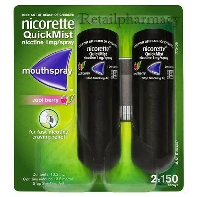 NICORETTE QUICKMIST COOL BERRY 1MG  MOUTHSPRAY 2 x 150 PACK-1 2 3 6 12 (07/2021)