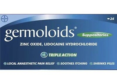 Germoloids Triple Action Suppositories 24 - For Haemorrhoids, Shrinks Piles