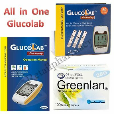 Glucolab Auto-coding blood glucose monitor ++Glucolab Strips ++ Greenlan Lancets