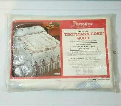 Vintage Paragon Needlecraft Tropicana Rose Double Bed Quilt Top Only Unopened