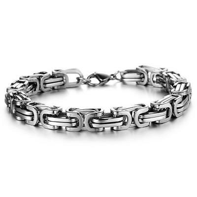 Heavy Silver Tone Stainless Steel Curb Chain Men's Trendy Bracelet Bangle