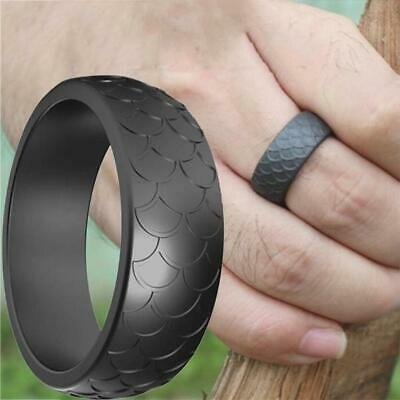 Fish Scale Silicone Ring Men Women Sports Wedding Flexible Bands Rubber B3A0