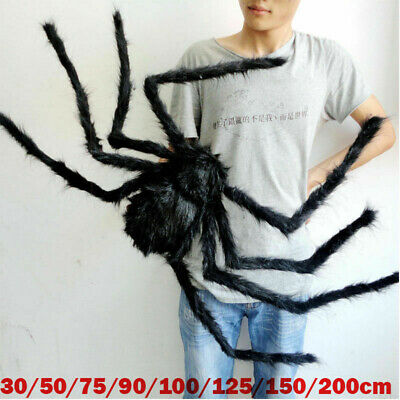 Hairy Giant Black Spider Decoration Halloween Prop Haunted House Decor Party USA