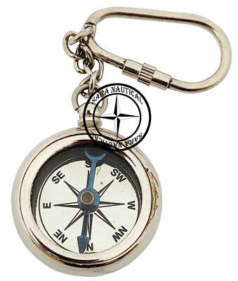 Vintage Nautical Brass Compass Keychain Brass Keychain Key Ring