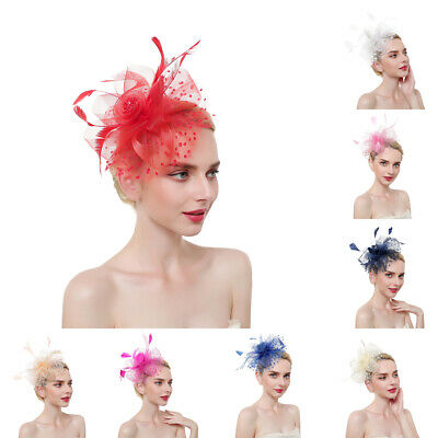 Ladies Feather Fascinators Hair Clips Wedding Bridal Mini Hats Veil Derby Party