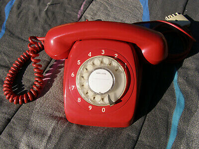 Post office red retro AWA1967 dial phone model 801