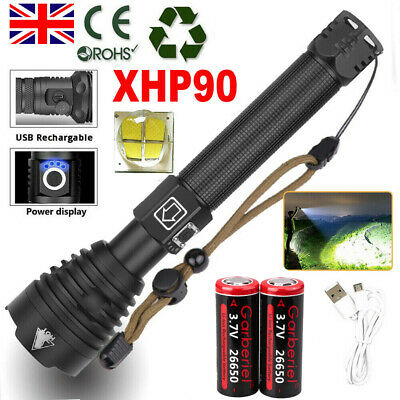250000LM xhp90 Ultra Bright LED USB Rechargeable Torch 18650 26650 Flashlight UK