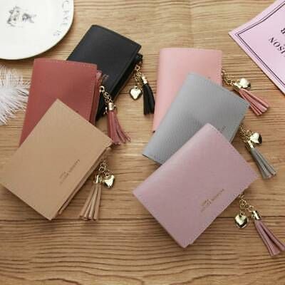 Women Lady Solid Wallet Coin Bag Case Leather Simple Bifold Small Handbag Purse