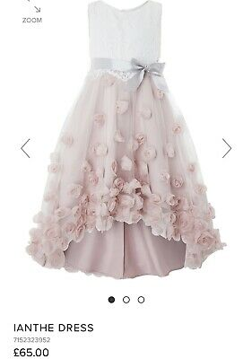Girls kids Monsoon Ianthe Pink Party Dress Wedding High Low Outfit Worn Once