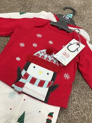 Mothercare Baby Boys Girls Penguin Christmas Pyjamas Santa Xmas PJs 1-3m 2 Pack