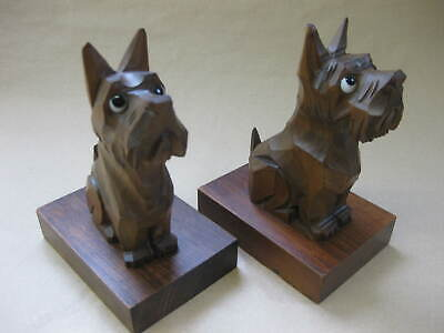 Pair of Cute Vintage Carved Wood Bookends ~ Terriers / Scottie Dogs ~ Glass Eyes