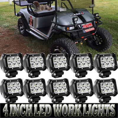 10PCS 4inch 180W LED Work Light Fit Driving Fog ATV Offroad CUBE Pods New Update