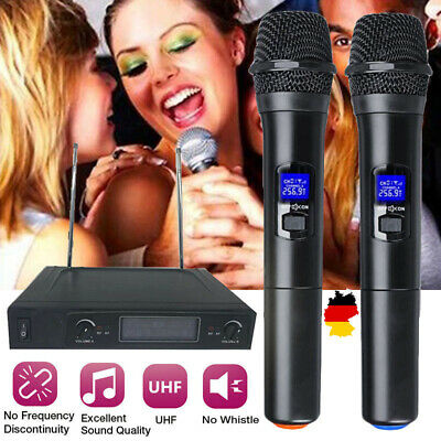 UHF Professional 2 CH Wireless Dual Handheld Microphone Mic-System LCD Display