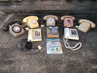 7 X Assorted 1970/80's Rotary Dial & Push Button Telephones + Ringer & Cable