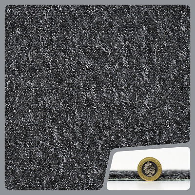 HARDWEARING CHEAP  Berber Loop Pile Felt Back Black Grey Carpet 5m Wide £3.99m²