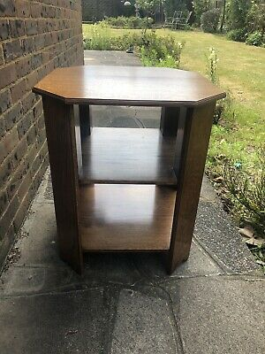 Vintage Solid Oak Octagonal Side End Table.