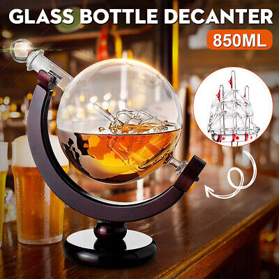 ☆ 850ml Glass Decanter Globe Liquor Whiskey Spirits Wine Drink Bottle Gift Decor