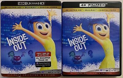 Disney Pixar Inside Out 4K Ultra Hd Blu Ray 3 Disc + Slipcover Sleeve Ultimate