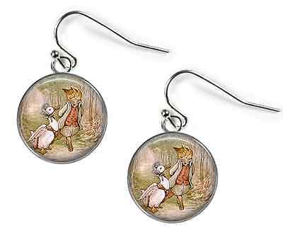 MR TOD / PUDDLE-DUCK Beatrix Potter - Glass Picture Earrings –Silver Plated (C2)