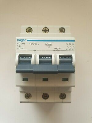 Hager 6Amp Mcb 3 Pole 3 Phase 10Ka D Type Motor Rated Nd306 / Ndn306 (Jl172)
