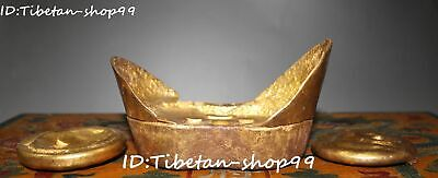 "15"" Collect Bronze Gilt Qing Yuanbao Ingot Money Currency Coin Wood Box Set"