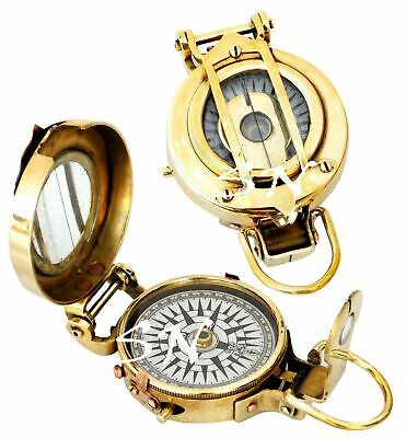 Antique Nautical Military Compass Vintage Shinny Brass Finish sundial compass