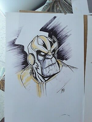 Thanos Avengers Endgame Dessin Original Sketch Commission Marvel Comics