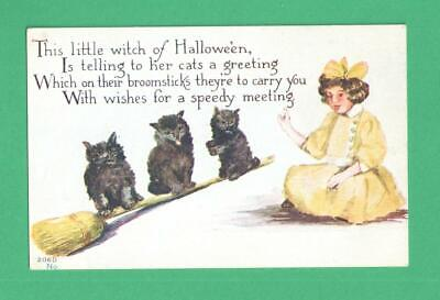 """Unusual Vintage Halloween Postcard """"Little Witch"""" Instructs Black Cats On Broom"""