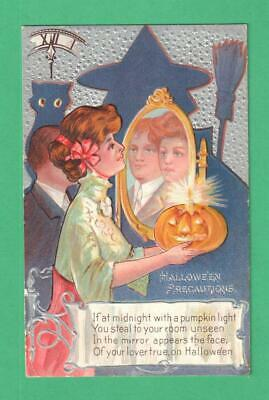 1909 Halloween Precautions Postcard Lady Candle-Jol Lover In Mirror Witch Cat