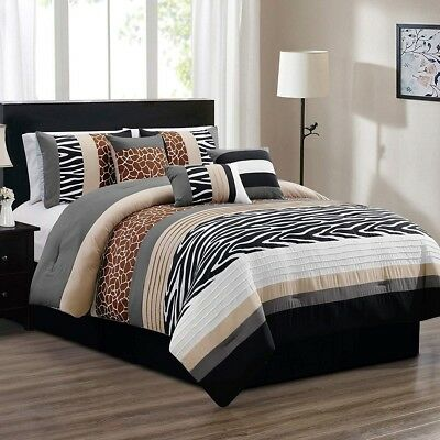 Brown Beige Black White Grey Zebra Giraffe Animal Print QUEEN Comforter Set