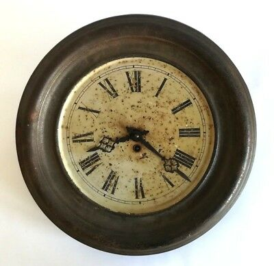 1864 Antique RAILWAY STATION Wall Clock French Pendulum Movement Wind Up Rustic