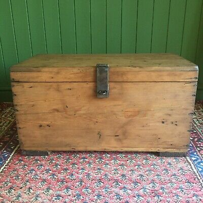 Reclaimed VINTAGE Wooden CHEST Old Rustic Industrial Storage TRUNK Pine BOX